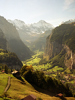 Lauterbrunnen Valley from the train September 1990